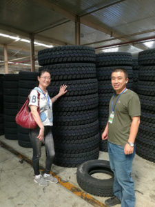 Australian Tyre Customer Ms. Maggie visiting Kaixuan Tyre Factory Warehouse on Sep. 2018
