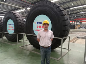 Mike training in OTR tyre factory