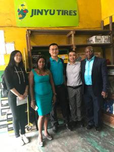 Visiting Cameroon Jinyu TBR tyre distributor shops